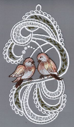 Embroidered Lace Two Sparrows Window Picture